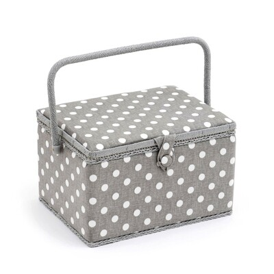 Sewing Box Large - Grey Linen Polka