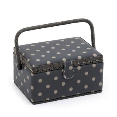 Sewing Box Medium - Charcoal Polka Dot