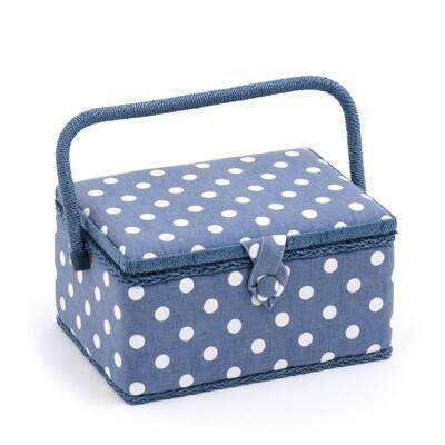Sewing Box Medium - Denim Polka Dot