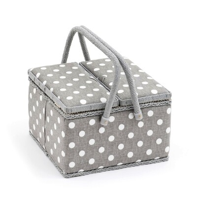 Sewing Box Twin Lid Large - Grey Linen Polka