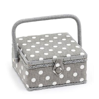 Sewing Box Small - Grey Linen Polka