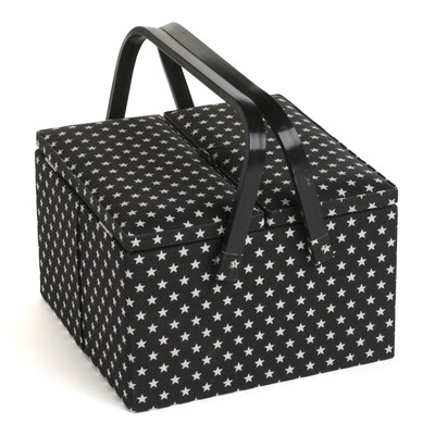 Sewing Box Twin Lid Large - Black Star