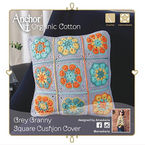 Anchor Crochet Kit - Grey Granny Square Cushion