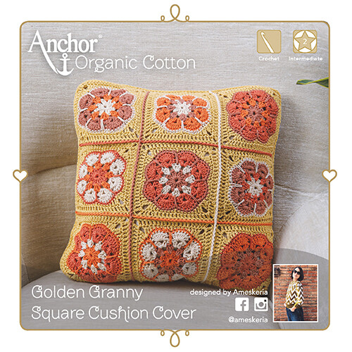 Anchor Crochet Kit - Golden Granny Square Cushion