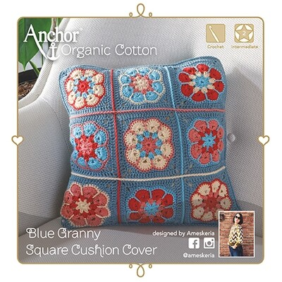 Anchor Crochet Kit - Blue Granny Square Cushion