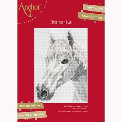 Anchor Starter Cross Stitch Kit - White Beauty - Horse