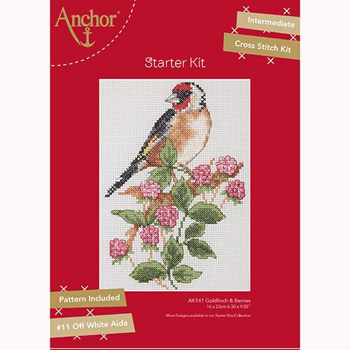 Anchor Starter Cross Stitch Kit - Goldfinch & Berries