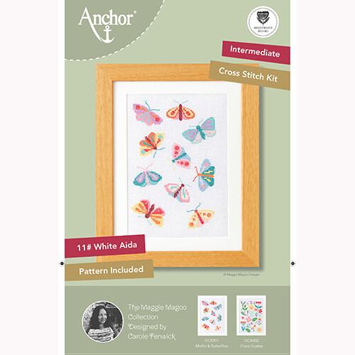 Anchor Starter Cross Stitch Kit - Moths & Butterflies