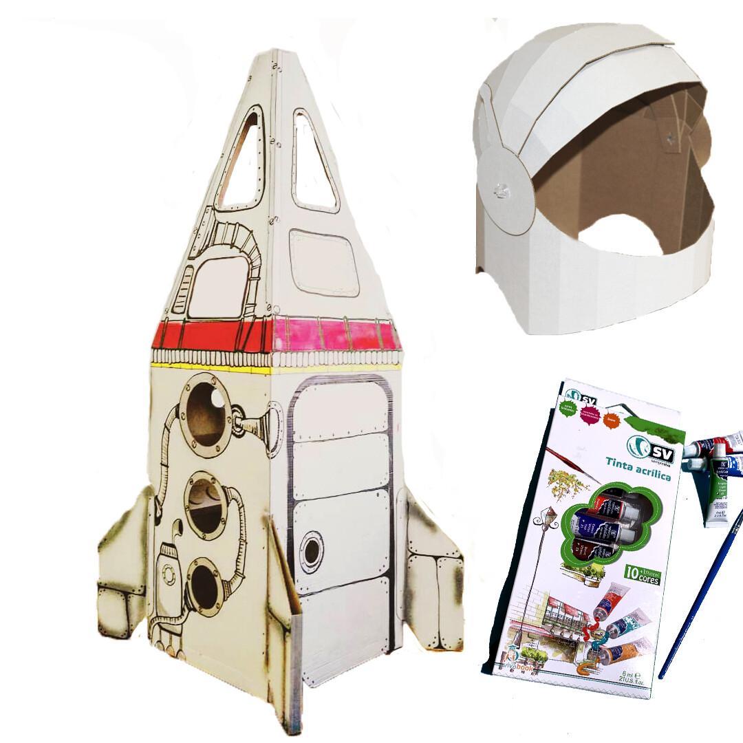 """Kit """"Foguetão para Marte"""": Foguetão de Papelão + Capacete + Tintas"""