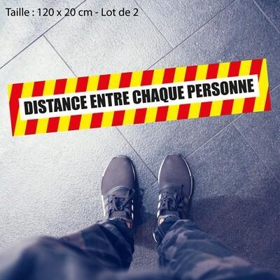 Autocollant DISTANCE ENTRE CHAQUE PERSONNE Lot de 2
