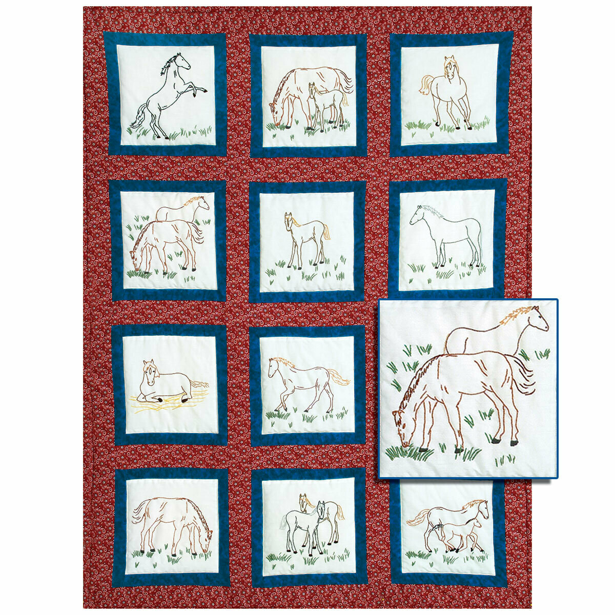 Horses 9″ Quilt Block Theme
