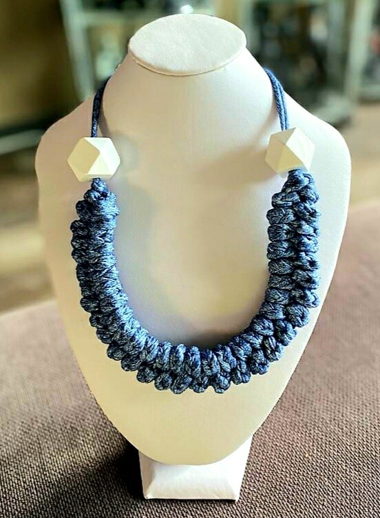 Grey Handmade Yarn Necklace