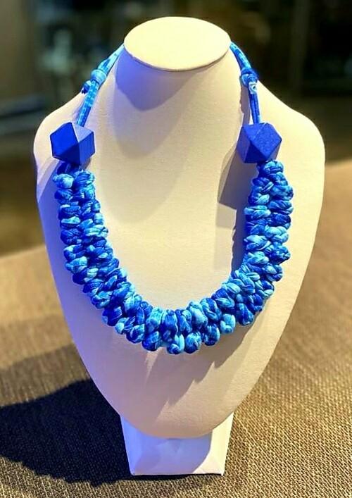 blue Sea Handmade Yarn Necklace