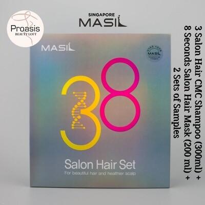 MASIL 38 Salon Hair Set ( 3 Salon CMC Hair Shampoo 300 ml + 8 Seconds Salon Hair Mask 200ml + 2 Sets of Samples) Made In Korea