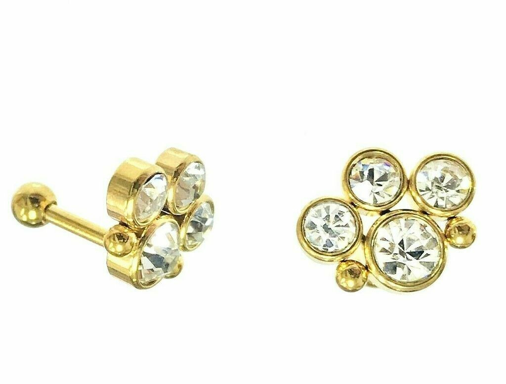 Gold CZ Paw Design Tragus Barbell