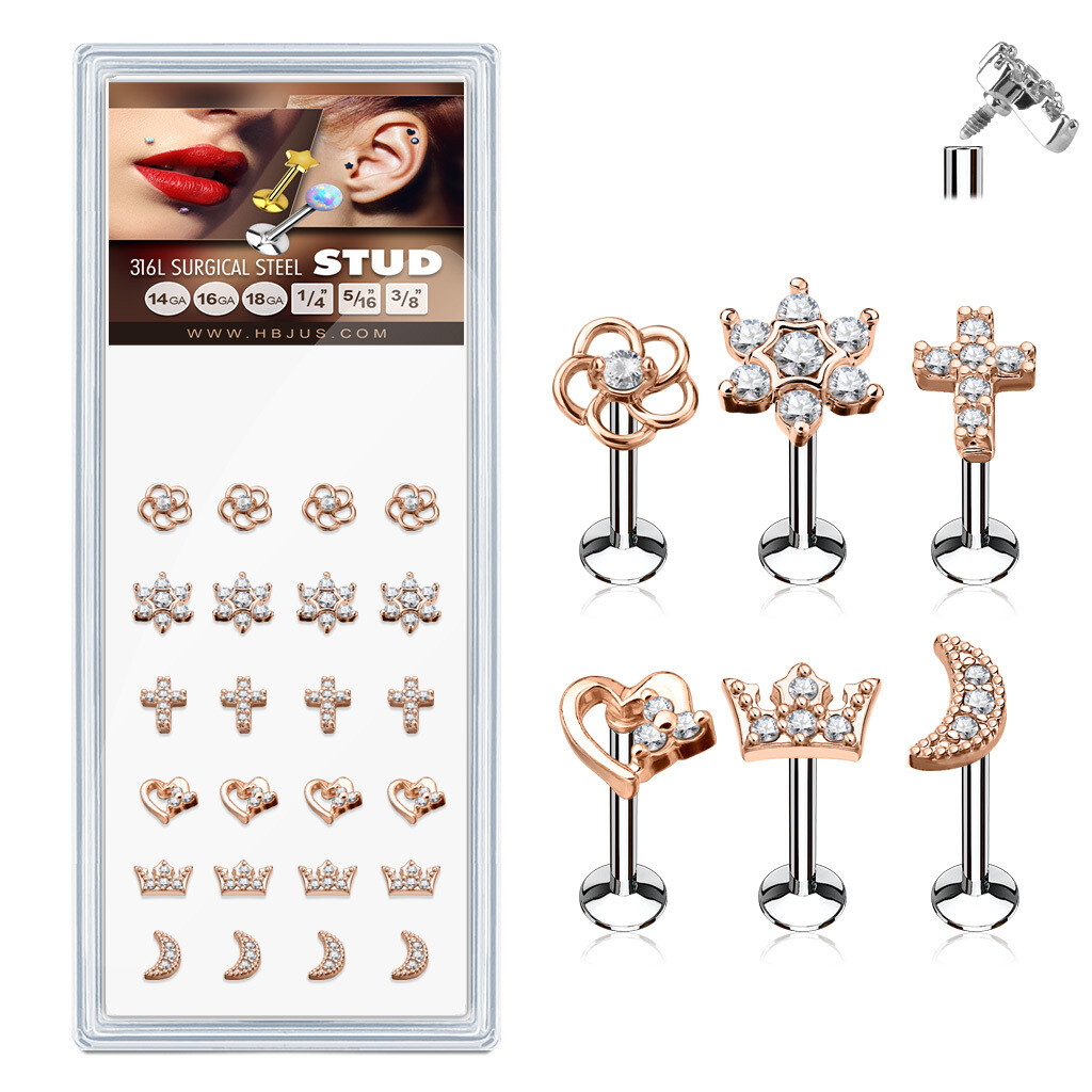 Assorted Styles Rose Gold Plated Top 316L Surgical Steel Stud for Labret, Lip, Monroe and Ear Cartilage