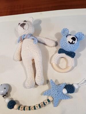 Kombination: Schnullerclip, Kauring und Teddy
