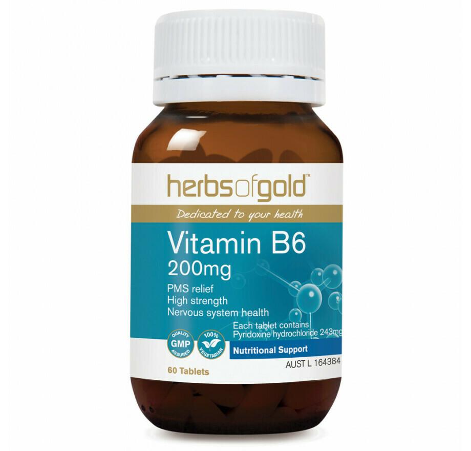 Herbs of Gold Vitamin B6 200mg - 60 tablets