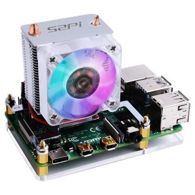 52Pi ICE Tower Cooler CPU Cooling RGB LED Fan V2.0