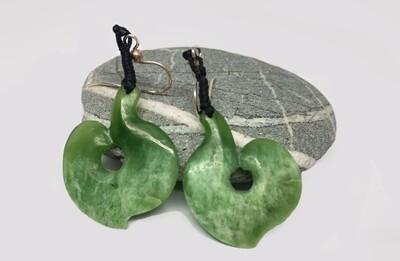 Fish Hook Jade Earrings