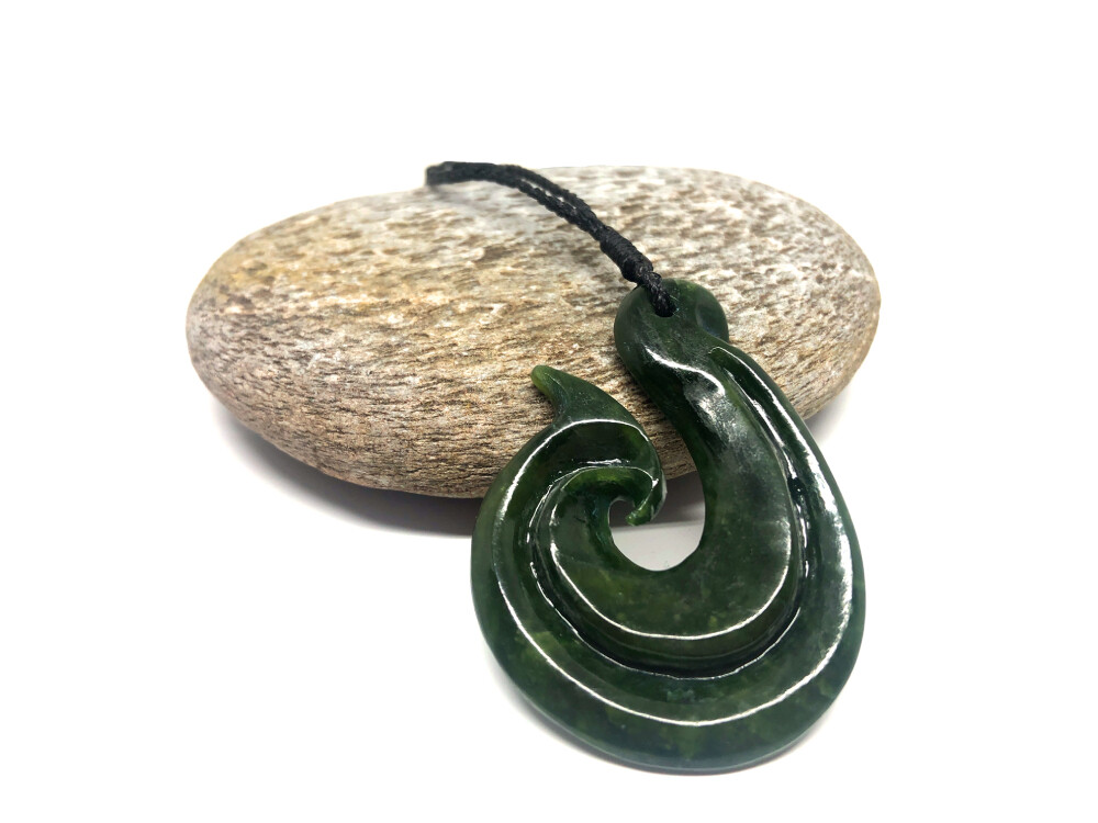 Jade Greenstone Fish Hook Pendant
