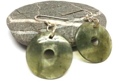 Button Jade Earrings