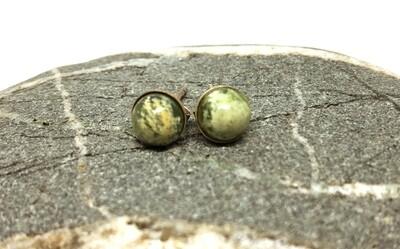 Flower Jade Stud Earrings