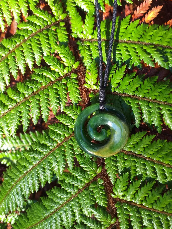 Flower Jade Koru Pendant
