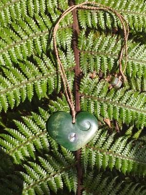 Flower Jade Heart Pendant
