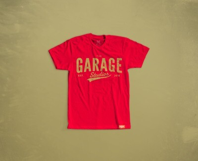Garage Studios distressed print RED