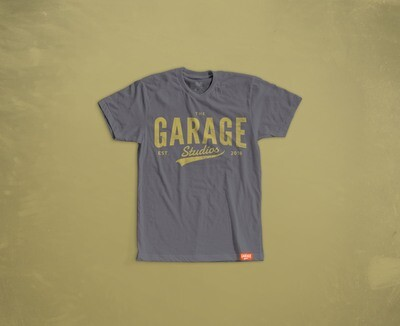 Garage Studios distressed print GREY