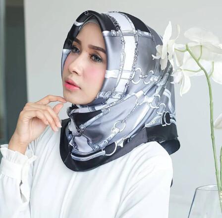 Women Hijab Silk Squared Scarf
