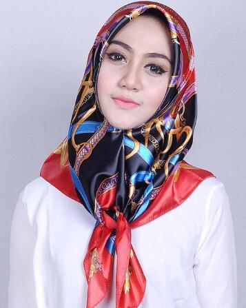 Women Hijab Silk Scarf With Colourful Prints