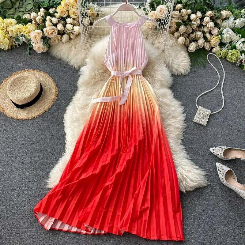 Sexy Pleated Dress Summer Fashion
