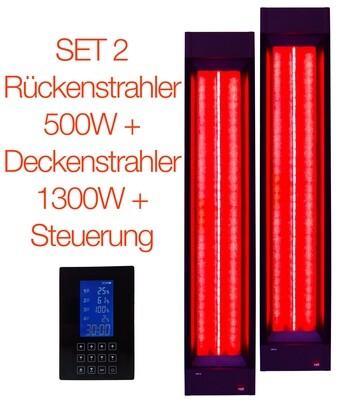 SET NR 2: Rückenstrahler + Deckenstrahler + Steuerung für die Sauna oder Infrarotkabine