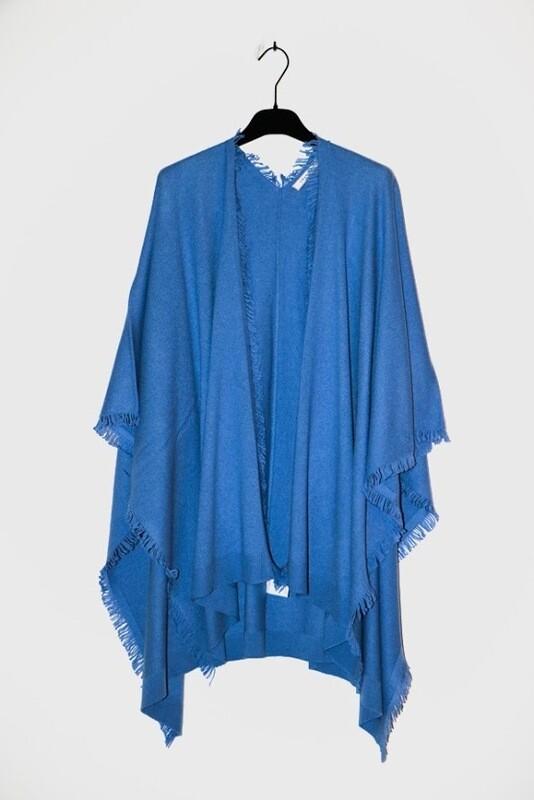 Amania Mo poncho blauw