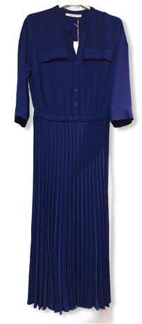 Amania Mo blauw kleed met plisseé rok