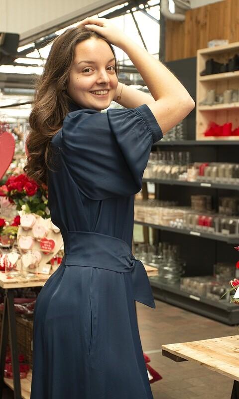 Caroline biss kleed blauw