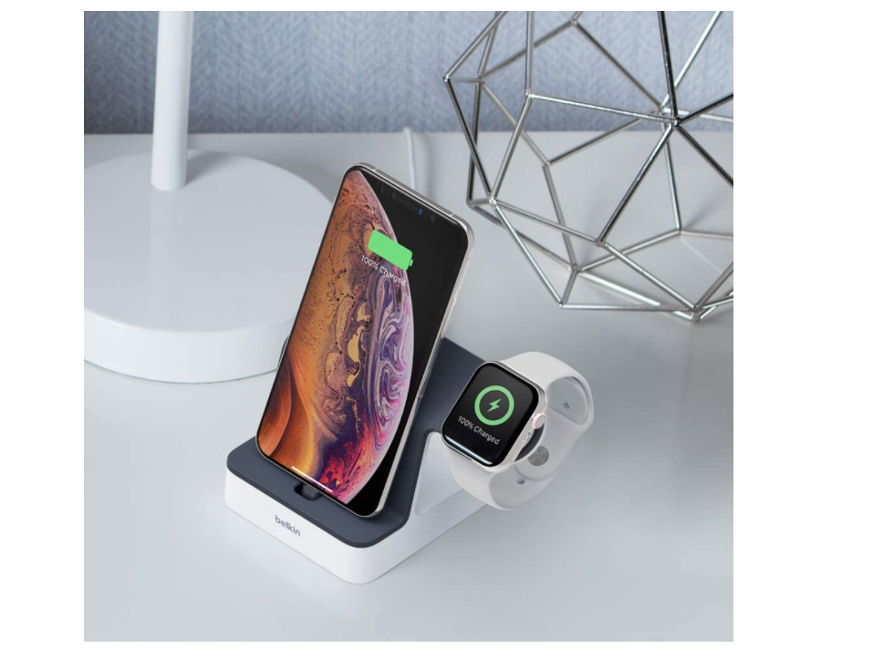 Belkin Powerhouse - Base de carga para Apple Watch y iPhone, Blanco