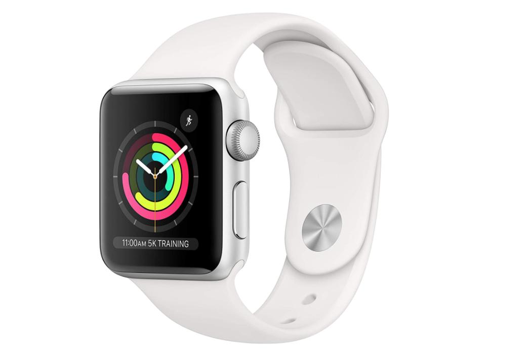 Apple Watch Series 3 (GPS, 1.496 in) - Carcasa de aluminio plateado con banda deportiva blanca