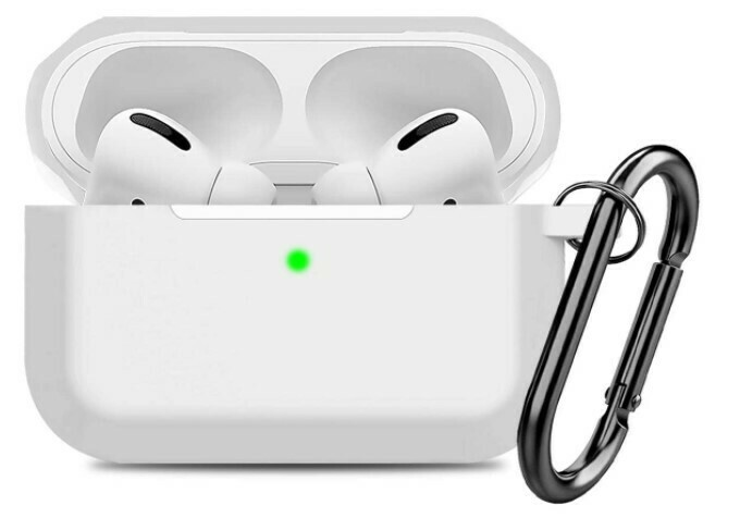 Carcasa de silicona compatible con AirPods Pro para Apple, Color Blanco