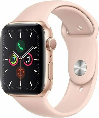 Apple Watch Serie 5, 44mm, Aluminio Dorado Espacial Con Banda Deportiva de Arena Rosa