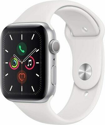 Apple Watch Serie 5, 44mm, Aluminio Plateado Espacial Con Banda Deportiva Blanca