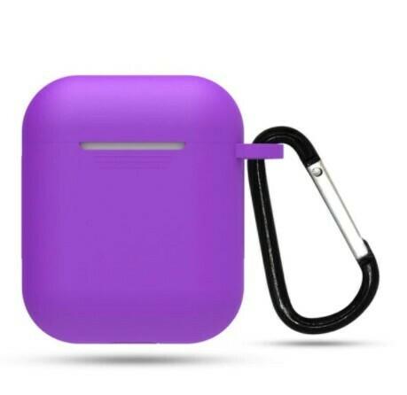 Protector de silicona blanda para Apple AirPods 1 y 2, Color Morado
