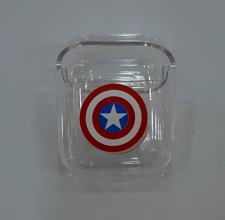 Funda Transparente para AirPods 1 y 2, Motivo Capitán América