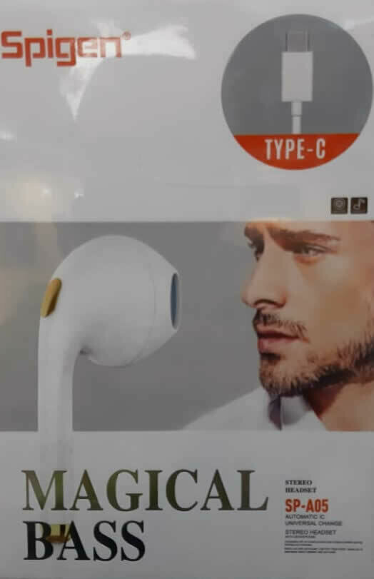 Audífono con Microfono Tipo C Spigen SP-A05, Color Negro