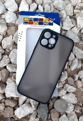 Case  para IPhone12 ProMax, Color Mate Transparente/ Borde Negro