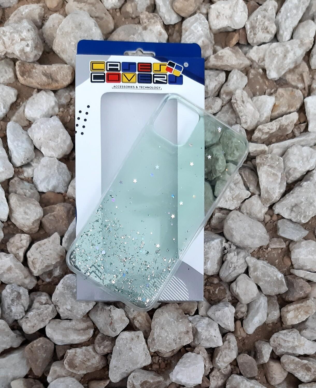 Case Glitter de silicona para IPhone11 ProMax, Color Transparente Verde Claro