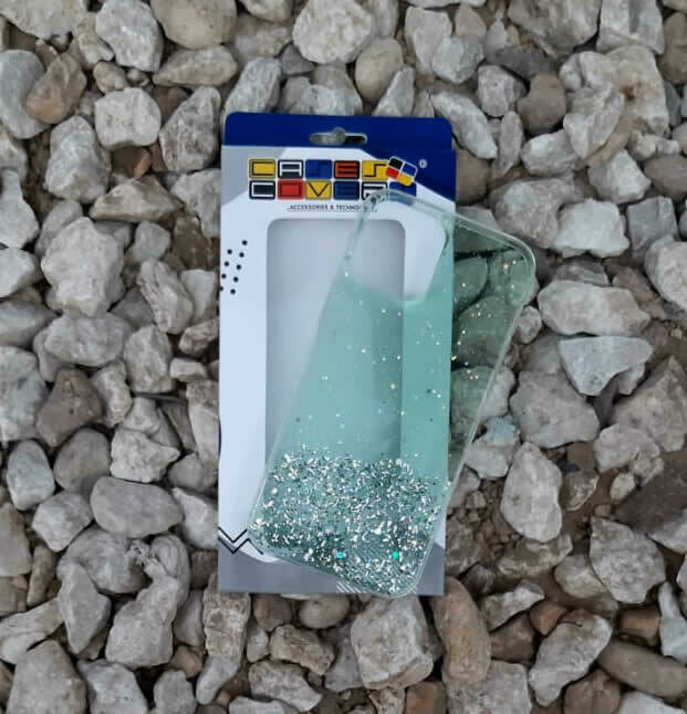 Case Glitter de silicona para IPhone12 ProMax, Color  Transparente Verde Claro