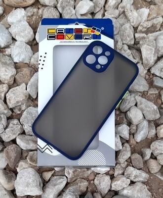 Case  para IPhone12 / Pro, Color Mate Transparente/ Borde Azul